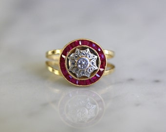 ANTIQUE DECO RUBY Art Deco era ruby and diamond 18k gold vintage engagement ring size 4.5 circa 1930s