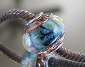 """RESERVED FOR ALEXANDRA Tangled Sky Glass """"Butterfly Garden"""" #19 Fully Sterling Silver Lined Lampwork Charm Bead BhB"""