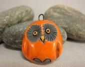 Orange Owl...Raku Pendant