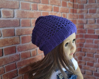 Doll Clothes - Boy or Girl Doll - Doll Beanie for 18 inch - Crocheted Slouch Beanie - Eggplant - MADE TO ORDER - fits American Girl