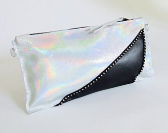 Holographic Leather Clutch ~ Uptown Clutch ~ Silver Leather Clutch ~ Black and Silver bag ~ Metallic Silver Bag ~ Glitter Glam