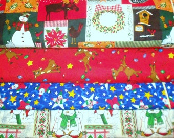 CLEARANCE CHRISTMAS #1 Fabrics, Sold INDIVIDUALLY not as a group, by the Half Yard