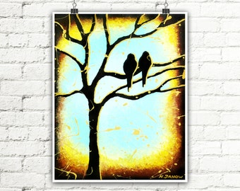 Love Bird Wall Art Print, Nature Inspired Teal and Earthy Brown Home Decor, Tree Branches Tree Art
