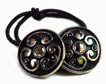 Black & Silver Glass Ponytail Holder, Decorative Hair Elastics, Victorian Era Vintage Buttons, Braids Decoration, Special Hair Accessories