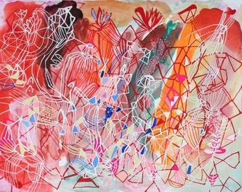 evening flowers - abstract watercolor astrology art star art doodle drawing folk art painting landscape painting modern art