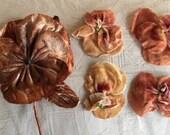 1920's Peachy Beige Silk Velvet Pansies