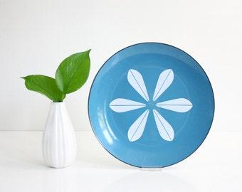 Vintage Cathrineholm Turquoise Blue and White Enamel Lotus Plate / Mid Century Modern Enamel Dish