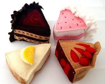 Felt Cake and Pie Pattern - Instant File - DESSERT DELIGHT Cherry Pie Cheesecake Birthday Cake