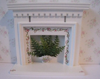 Dollhouse fireplace,  white  fireplace, bedroom fireplace, fireplace with ferns, a dollshouse miniature in twelfth scale