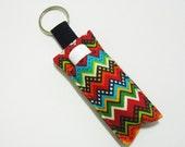 Chap Stick Holder, Lip Balm key chain, chapstick case, lip stick, Lipbalm Holder case cozy- winter Chevron