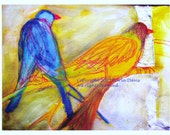 Blue and Yellow Bird Giclee art print from original watercolor collage art abstract surreal calm decor