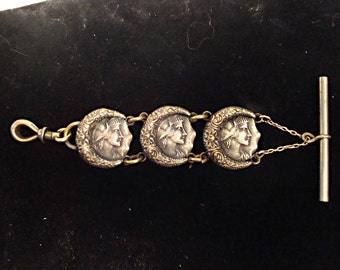 Silver Over Brass Art Nouveau, Victorian Watch Fob:  Three Beautiful Ladies' Faces - great detail and depth of casting