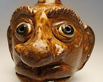 Albert Hodge North Caroling Pottery FACE JUG:  American Folk Art