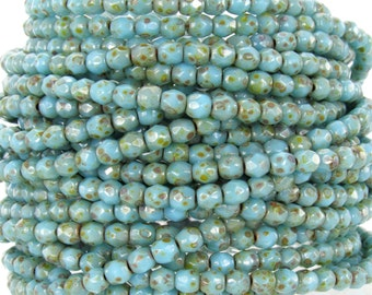 3mm Faceted Opaque Blue Turquoise Picasso Firepolish Czech Glass Beads - Qty 100 (BS553)