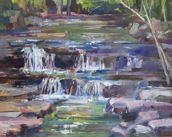 Original Oil Painting Waterfall by Marty Husted