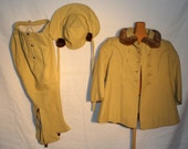 Vintage Toddler Wool Coat and Snow Pants, 1930's to 1940's Era, Fur Collar and Trim on Hat