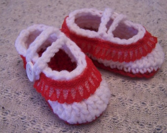 Mary Jane Baby Booties with Red Lace