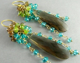 25% Off Summer Sale Smokey Quartz, Andalusite, Vesuvianite and Teal Quartz Gemstone Cluster Gold Filled Earrings
