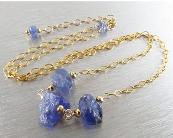 End Of Summer Sale Tanzanite Rough Nugget Necklace