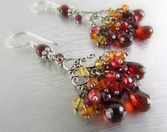 Mozambique Garnet With Citrine, Orange and Red Quartz Silver Chandelier Earrings