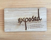 100 Wood Business Cards -- Laser-Cut and Laser-Etched with Your Artwork / Graphics / Logo - Birch Business Cards