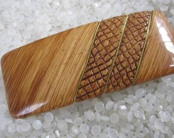 vintage barrette, vintage wood grain LOOK style barrette
