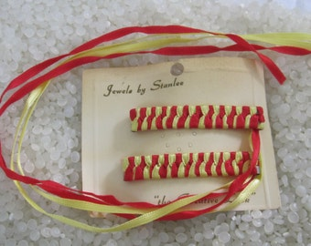 retro 1970's woven ribbon barrettes NEVER USED orange and yellow woven ribb0n