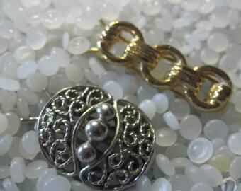 Silver tone and  gold tone 1970s   vintage barrettes, tiny barrette