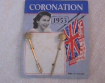 vintage hairpins , bobby pins , 1953 Royal HAIR PINS Queen Elizabeth Coronation Vintage Made in England
