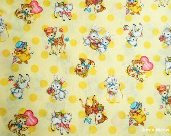 Japanese Fabric - QUILT GATE - Dear Little World - Cute Animals on Yellow - Half Yard (ha160804)