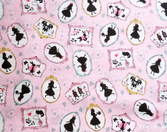 Japanese Fabric - Alice in Wonderland on Pink - Half Yard (nu160201)