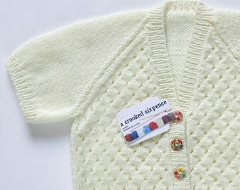 Soft Cream Cardigan. Hand Knit Cardigan. Hand Knit Sweater. Hand Knit Childrenswear.