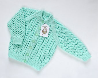 Mint Green Cardigan. Hand Knit Cardigan. Hand Knit Sweater. Hand Knit Childrenswear.