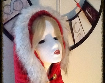 Warm Red Moeby Infinity Scarf and Hood with Faux Fur Hood Cuff