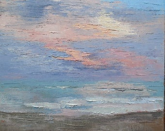 """Impressionist Seascape Oil Painting, Palette Knife Painting, Skyscape,Textued Painting, Pink, Aqua, No Frame Required 12x12x1.5"""""""