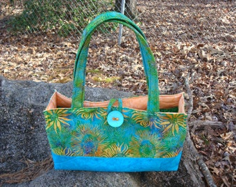 Blue Green and Orange Floral Tote Purse Bag