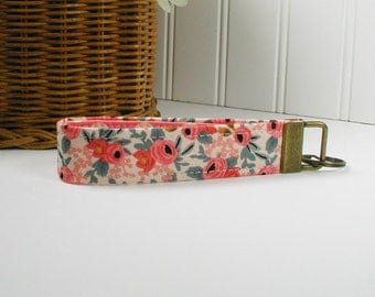 Key Fob Wristlet, Fabric Key Chain, Wrist Key Chain ..Les Fleurs Rosa in Peach, Rifle Paper Co