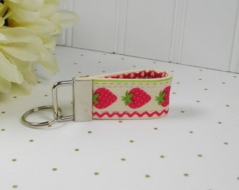 Mini Key Fob, Fabric Key Fob .. Strawberry Patch