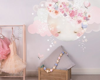 Sleepy Moon Fabric Decal Wall Stickers - Pretty, floral, girls bedroom wall sticker