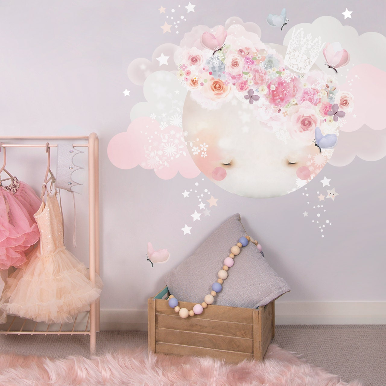 Sleepy moon fabric decal wall stickers pretty floral girls zoom amipublicfo Image collections