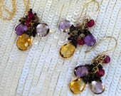 Ametrine Dangle Earring Necklace Set Wire Wrap Citrine Ametrine Amethyst Red Spinel Jewelry Set February Birthstone Colorful Holiday Fashion