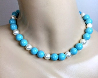 60% FLASH SALE Vintage Turquoise Choker Turquoise Beaded Necklace White Pearls Turquoise Handmade Choker Statement Necklace Spring Fashion P