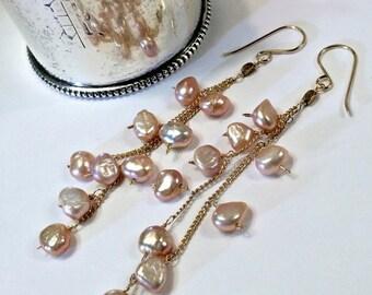 50% OFF SALE Blush Pearl Long Dangle Earrings 14kt Gold Fill Chain Tassel Earrings Wire Wrap Bohemian Pearl Earrings