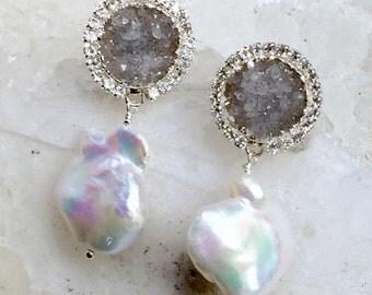 Druzy Earrings Silver Grey Druzy Quartz Earrings Swarovski Crystal Diamond Look Baroque Pearl Dangle Earrings Beach Wedding