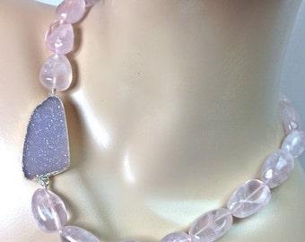 60% OFF SALE Large Druzy Necklace Rose Quartz Chunky Choker Lavender Druzy Pink Necklace Statement Jewelry Raw Gemstone