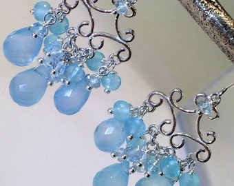 50% SALE Blue Chandelier Earrings, Blue Chalcedony Wire Wrap Sterling Silver Filigree Handmade Earrings Boho Chic Chandelier
