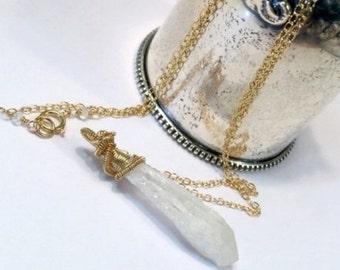 50% SALE White Titanium Crystal Quartz Point Choker Wire Wrap White Choker Minimalist Jewelry Raw Gemstone Layer Necklace 14kt Gold Fill Coi