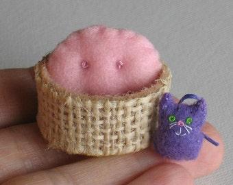 Kitten Cat miniature felt plush in a basket play set