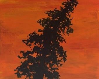 Tree Silhouette Block 101  - Original Acrylic Painting