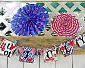 4th Of July Banner-Patriotic Sign-Patriotic Banner-Reversible July 4th Banner-Fourth of July Decor-July 4th Party Decor- July 4th Rag Banner
